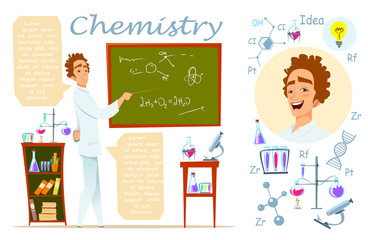 Chemistry teacher. Infographic, Lesson