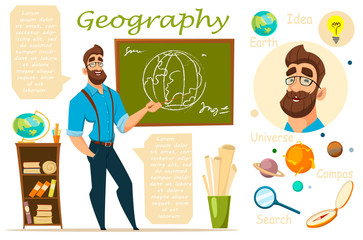 Geography teacher. infographics, lesson