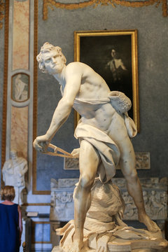 Marble sculpture David  by Gian Lorenzo Bernini  in Galleria Borghese, Rome, Italy