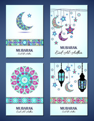 Set of vector greeting cards to Feast of the Sacrifice (Eid-Al-Adha). Congratulation's backgrounds with text, muslim symbols and mosaic mandalas patterns