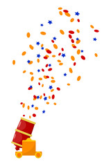Bright red abstract color image gun with confetti on a white bac