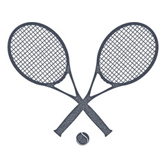 Two tennis rackets with a ball for tennis on a white background.