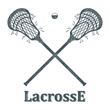 Crossed lacrosse stick and ball with grunge texture on white bac