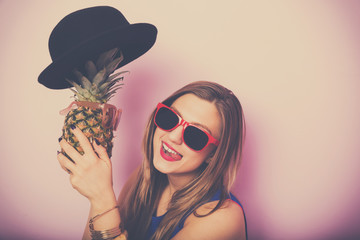 Beautiful young woman having fun. Summer concept image.