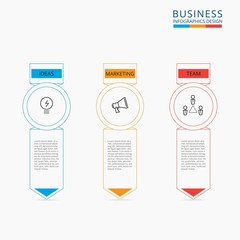 Thin line flat business concept infographic template. Can be used for workflow layout, diagram web design, infographics. Vector Illustration