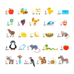 ABC. Learn to read. Children alphabet with cute cartoon animals