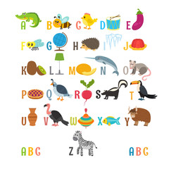 Children alphabet with cute cartoon animals and other funny elem