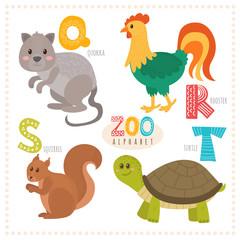 Cute cartoon animals. Zoo alphabet with funny animals. Q, r, s,