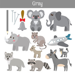 Gray. Learn the color. Education set. Illustration of primary co