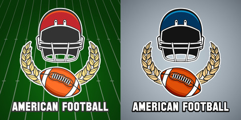American football league vector college emblem with helmet and rugby ball