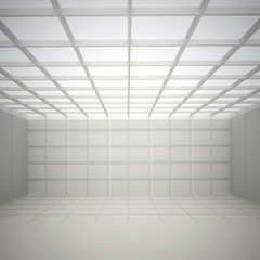 3d illustration. White interior of not existing building with a square cellular ceiling and wall and top light in perspective. Symmetrical view, render