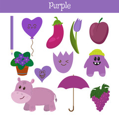 Purple. Learn the color. Education set. Illustration of primary