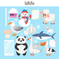 White. Learn the color. Education set. Illustration of primary c