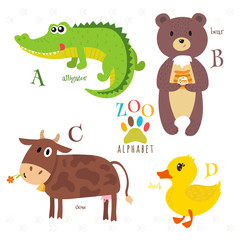 Zoo alphabet with funny cartoon animals. A, b, c, d letters. All
