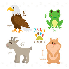 Zoo alphabet with funny cartoon animals. E, f, g, h letters. Eag