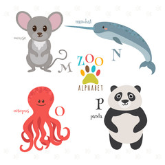 Zoo alphabet with funny cartoon animals. M, n, o, p letters. Mou