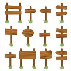 Wooden signs vector set