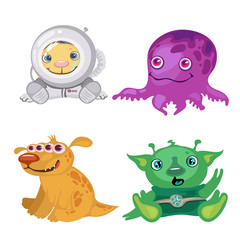 Four funny bizarre alien, fictional characters