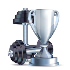 Silver cup with metal realistic dumbbells.