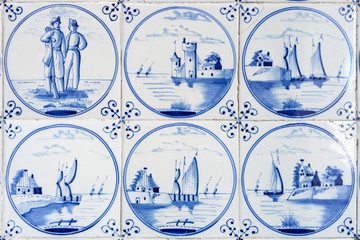 six typical blue delft tiles