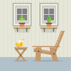 Closed Windows With Wooden Chair And A Glass Of Orange Juice On Table Vector Illustration