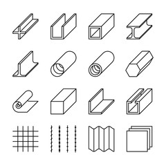Metallurgy products line vector icons