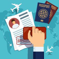 Visa stamping. Stamp on passport application