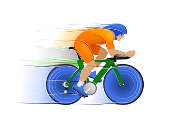 Bicycle Racing. Sportsman / bicyclist, participating in the sports competition of Cycle Racing. Illustration on the subject of Sports Games.