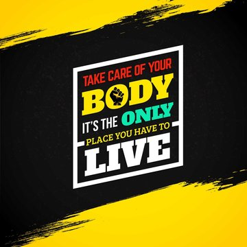 Motivational fitness quote on grunge background