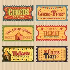 Retro circus tickets pack