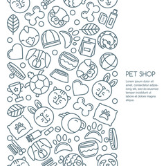 Vector seamless vertical background with outline pets icons. Goods for animals. Design for pet shop, pets care, grooming or veterinary. Line dog, cat, parrot, rabbit illustrations.