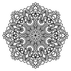 Round ornament. Design for coloring book page or tattoo. Decorative element. Art nouveau.