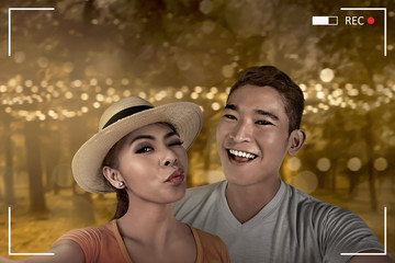 Asian couple selfie