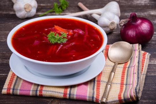 Ukrainian and russian national food - red beet soup, borscht .