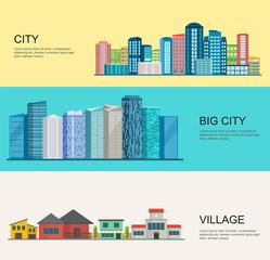 Urban and village landscape. Big modern city, rural village.