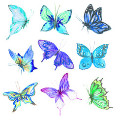 Watercolor butterflies set. Blue, turquoise and green butterflies on white bcakground. Beautiful fragile creatures for decoration.