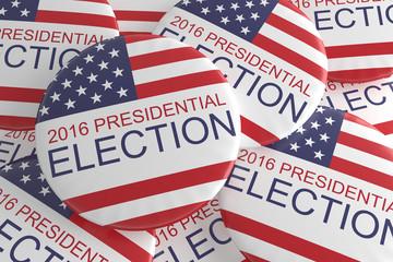 Pile Of US Presidential Election 2016 Badges, 3d illustration