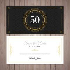 Golden wedding elegant invitation