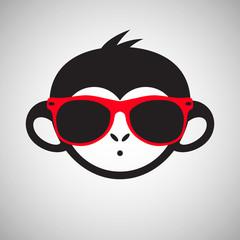 Cute monkey in sunglasses, vector illustration