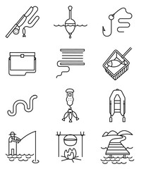 Fishing hobby line art thin and simply icons set.