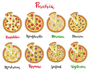 Vector set illustration of pizza and hand lettering isolated on a white background.