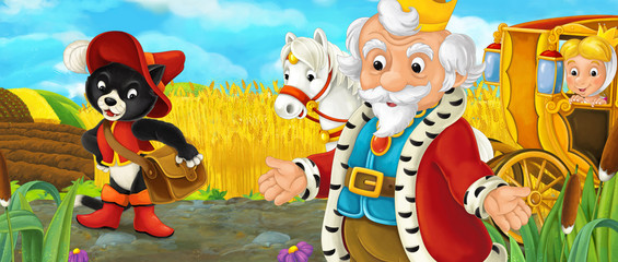 Cartoon scene with royal pair with dressed cat driving through the pastures - illustration for children