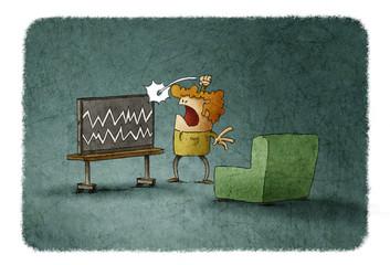 Angry man hitting TV at home