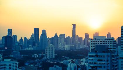 Bangkok skyline bei Sonnenuntergang Panorama