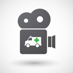 Isolated retro cinema camera icon with  an ambulance icon