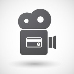 Isolated retro cinema camera icon with  a credit card