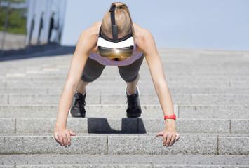 Woman virtual reality glasses workout