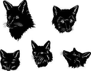Fox, portrait, fox's snout, vector, silhouette, set