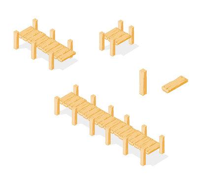 Footbridge. Wooden Bridge Icon vector.