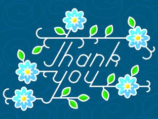 Thank you lettering hand-drawn composition with floral elements.